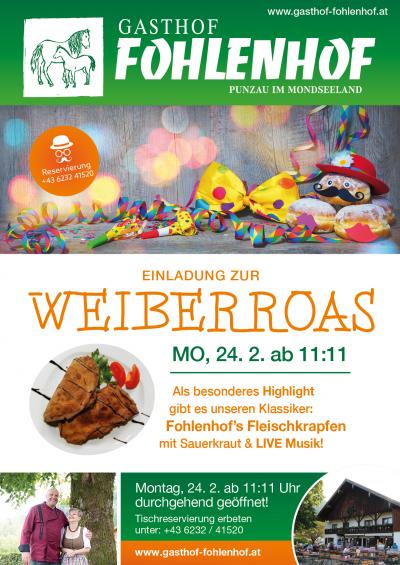 Weiberroas Gasthof Fohlenhof Plakat