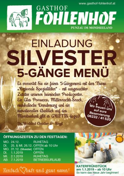 5-Gänge-Silvestermenü 2018